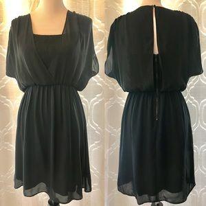 Alice + Olivia Black Navy Silk Hourglass Dress